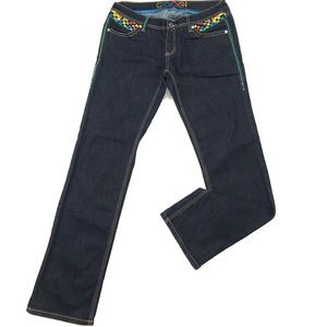 Coogi Embroidered Dark Blue Straight Leg Jeans